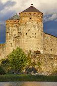 Savolinna castle fortress tower. Finland landmark. Finnish heritage. Vertical poster