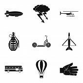 Militant icons set. Simple set of 9 militant vector icons for web isolated on white background poster