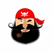 Pirate winking emoji head. Filibuster gladl emotion face. Buccaneer merry avatar. Vector illustration poster