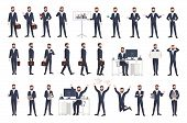 Business man, male office worker or clerk with beard dressed in smart suit in different postures, moods, situations. Flat cartoon character isolated on white background. Modern vector illustration poster