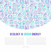 Ecology and green energy concept with thin bicolor line icons for environmental, recycling, renewable energy, nature. Vector illustration for banner, web page, print media with place for text inside. poster