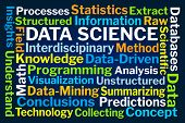 Data Science Word Cloud on Blue Background poster