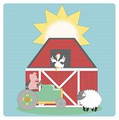 Farm animals tractor and a red barn. poster