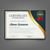 Creative certificate of appreciation award template. Certificate template design with best award symbol and blue and golden shapes and badge. isolated on background. Vector illustration. Eps 10. poster