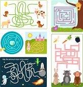 Labyrinth maze conundrum shape rebus logic game search mystery funny puzzle for children vector illustration. Preschool education quest amusement play task. poster