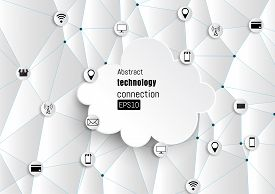 Technology network. Growth background with paper circles integrate flat icons. Connected symbols for digital connect communicate social media and global concepts. Vector interactive illustration