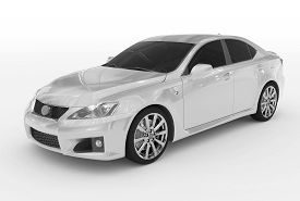 Car Isolated On White - White Paint, Tinted Glass - Front-left Side View