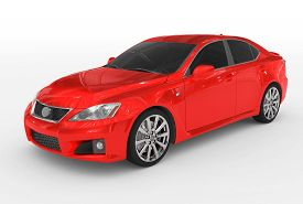 Car Isolated On White - Red Paint, Tinted Glass - Front-left Side View