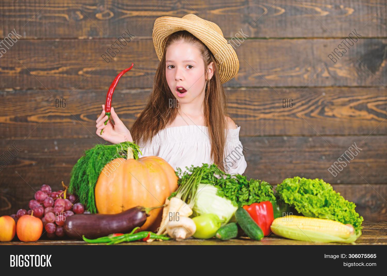 Girl Kid Farm Market Image Photo Free Trial Bigstock