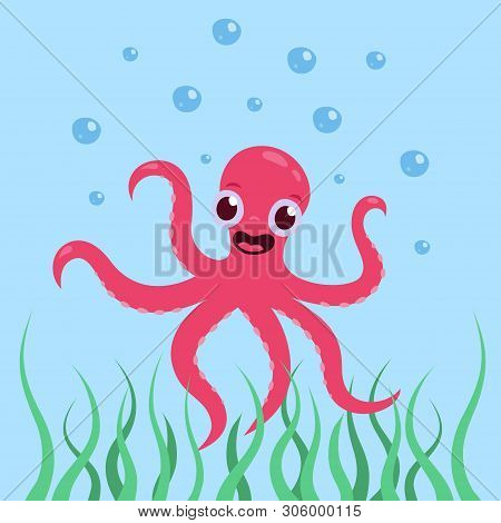A Cheerful, Cute Octopus Is Smiling Underwater In The Sea Vector Illustration In Cartoon Style.