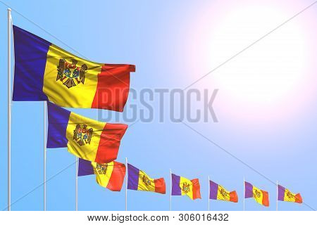 Wonderful Many Moldova Flags Placed Diagonal On Blue Sky With Place For Your Text - Any Occasion Fla