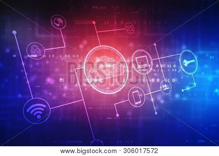 2d Illustration Cloud Computing, Cloud Computing Concept, Cloud Computing Technology Internet Concep
