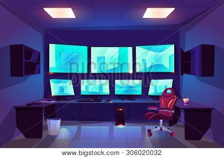 Security Control Cctv Room Interior With Multiple Monitors Displaying Video From Surveillance Camera