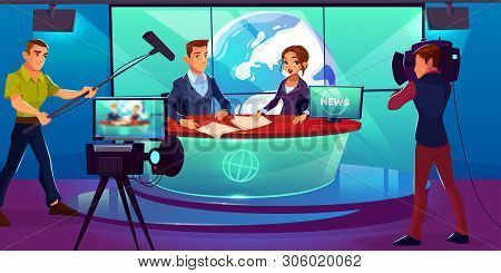 Tv News Studio With Television Presenters Reporting In Broadcasting Room With Earth On Huge Screen,