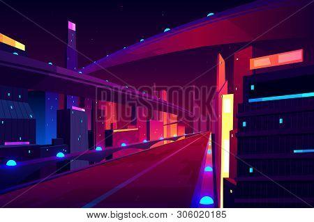 Night City Road, Empty Streetscape Freeway, Speed Two-lane Highway, Overpass Or Bridge In Metropolis