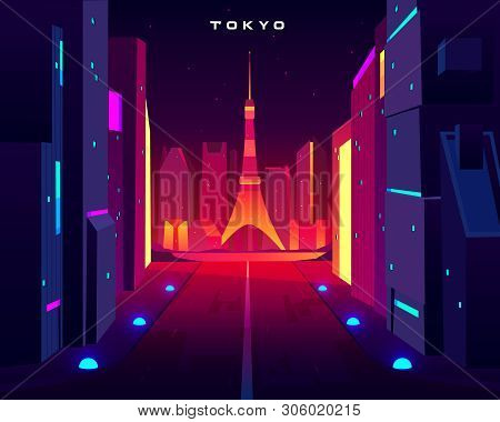 Tokyo City Night Skyline With Skytree Television Tower View In Neon Illumination. Metropolis Archite