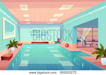 Swimming Pool In Gym Interior, Empty Sport Fitness Center With Equipment, Training Apparatus, Hotel