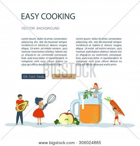 Culinary Art And Cooking Courses Poster, Banner Template. Happy Family Cooking Together A Healthy Gr