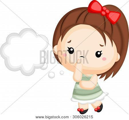 A Vector Of A Little Girl Thinking About Some Stuff