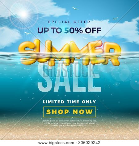 Summer Sale Design With 3d Typography Letter In Underwater Blue Ocean Background. Vector Special Off