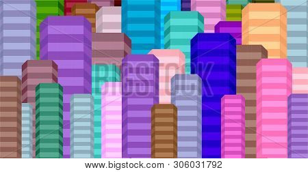 Community Of Colorful City Buildings For Background Illustrations.