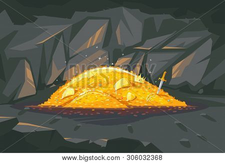 Big Bright Pile Of Gold Coins With Different Treasures In Dark Cave, Treasures Hidden Deep In The Ca