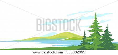 Three Spruce Tops Overlooking The Mountain Lake In The Valley, Travel Concept Illustration On White