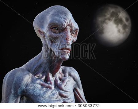 Portrait of an alien creature gazing into space with stars and a planet or moon in the background, 3D rendering. poster