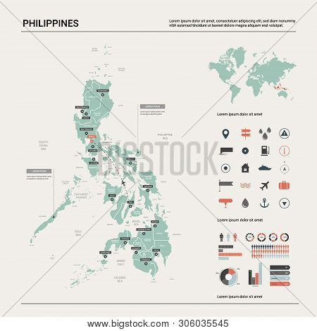 Vector Map Of Philippines. Country Map With Division, Cities And Capital Manila. Political Map,  Wor