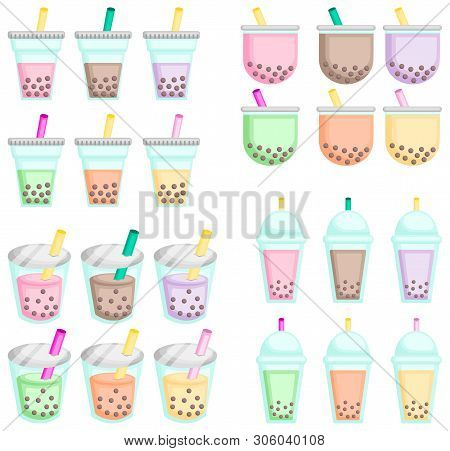 A Vector Of Many Flavor Of Bubble Teas