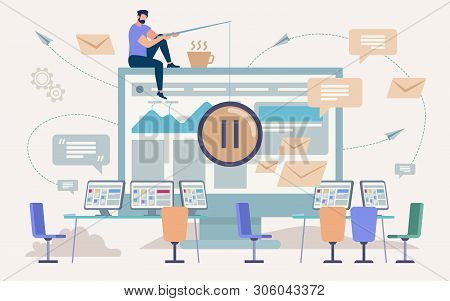 Pause, Coffee Break In Office Work,flat Vector Concept. Man Sitting On Edge Of Computer Monitor, Hol