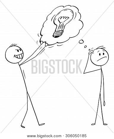 Vector Cartoon Stick Figure Drawing Conceptual Illustration Of Man Or Businessman Thinking About Som