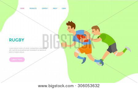 People Playing Rugby Vector, Team Of Boys Running With Ball, Male Chasing Opponent, Strong Males In