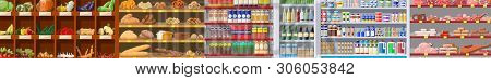 Supermarket Shelves With Groceries. Goods And Products. Food And Drinks In Boxes And Bottles, Bread,