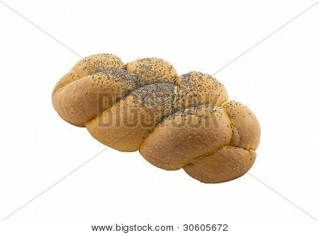 Tasty Bun In The Form Of A Plait With A Poppy, Isolated On A White Background.