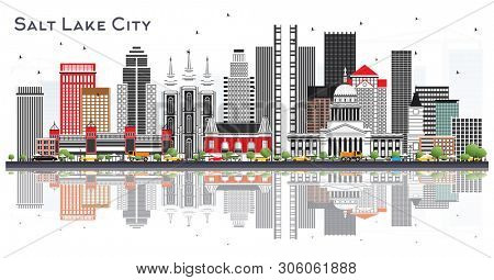 Salt Lake City Utah City Skyline with Gray Buildings Isolated on White. Business Travel and Tourism Concept with Historic Architecture. Salt Lake City USA cityscape with Landmarks.