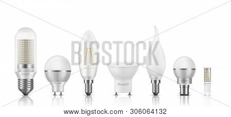 Different Shape, Size, Base And Filament Types Led Bulbs 3d Realistic Vector Set Isolated On White.