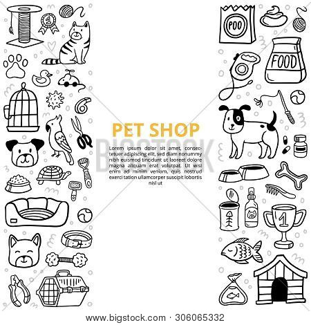 Black And White Goods For A Pet Shop In Doodle Style. Vet Symbol Collection With Text. Vector Illust