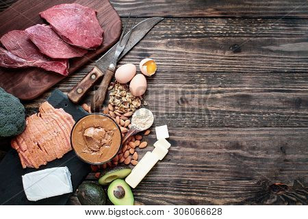Selection Of Good Fat Sources For Keto Lifestyle. Meat-beef, Smoked Salmon, Eggs, Nut Butter, Nuts,