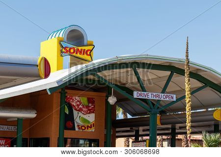 Las Vegas - Circa June 2019: Sonic Drive-in Fast Food Location. Sonic Is A Drive-in Restaurant Chain