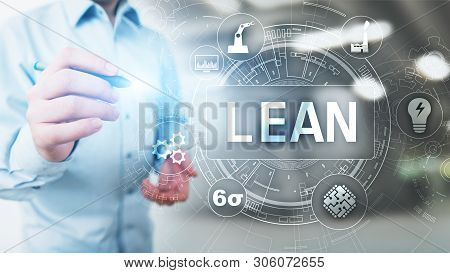 Lean, Six Sigma, Quality Control And Manufacturing Process Management Concept On Virtual Screen.