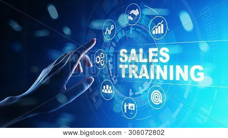 Sales Training, Business Development And Financial Growth Concept On Virtual Screen.