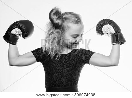Strong Child Boxing. Sport And Health Concept. Boxing Sport For Female. Be Strong. Girl Child With B