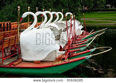 Boats At Rest In The Boston Public Garden