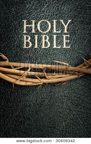 holy bible and crown of thorn