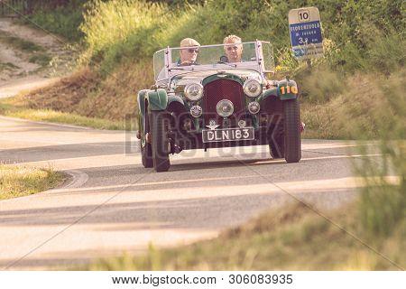 Pesaro Colle San Bartolo, Italy - May 17 - 2018: Aston Martin 2 Litre Speed Model 1937 Old Racing Ca