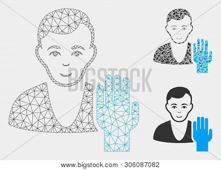 Mesh Elector Model With Triangle Mosaic Icon. Wire Carcass Polygonal Mesh Of Elector. Vector Mosaic