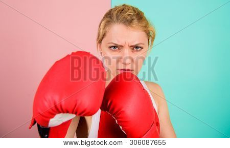 I Am Gonna Kick You Off. Confident In Her Boxing Skill. Boxing Improve Temper And Will. Concentrated