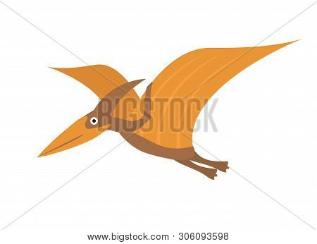 Pterosaur Flat Style Icon. Isolated On White Background. Vector Illustration