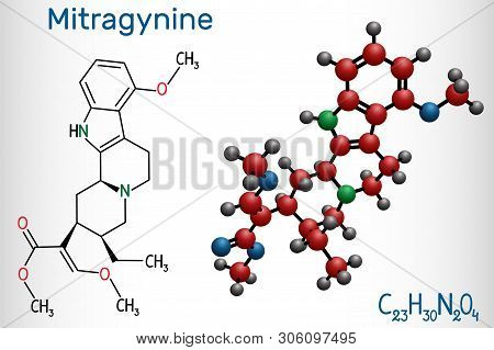 Mitragynine Molecule. It Is The Herbal Alkaloid With Opiate-like Properties Produced By Plant Mitrag